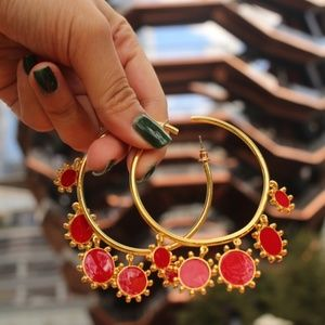 New Sun Round Big Large Circle Gold Hoops